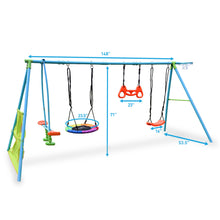 Load image into Gallery viewer, Pure Fun 6-Station Play-Zone Deluxe Metal Swing Set