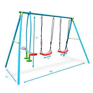 Pure Fun 4-Station Play-Zone Metal Swing Set