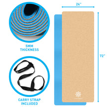 Load image into Gallery viewer, Life Energy 5mm EkoSmart Cork Yoga Mat with Carry Strap - Pure Fun