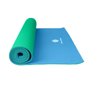 Reversible Yoga Mat, PVC, 6mm, Emerald and Blue - Pure Fun