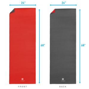 Life Energy Reversible Yoga Mat, PVC, 6mm, Ruby and Charcoal - Pure Fun