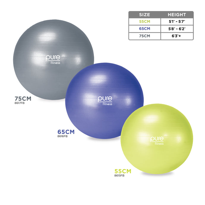 Exercise Stability Ball, Professional Grade, PVC - Pure Fun