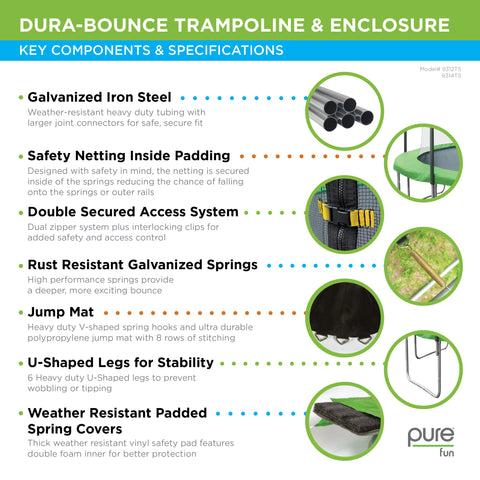Pure Fun Dura Bounce 12ft Trampoline With Enclosure