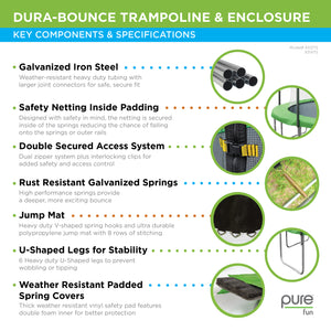 Pure Fun Dura-Bounce 15-Foot Trampoline with Safety Enclosure - Pure Fun