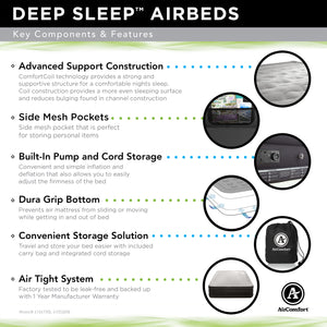 Air Comfort Deep Sleep Puncture Resistant Raised Air Mattress with Internal Pump - Queen - Pure Fun
