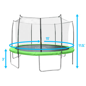 Pure Fun Dura-Bounce Outdoor Trampoline with Enclosure, 15-Foot - Pure Fun