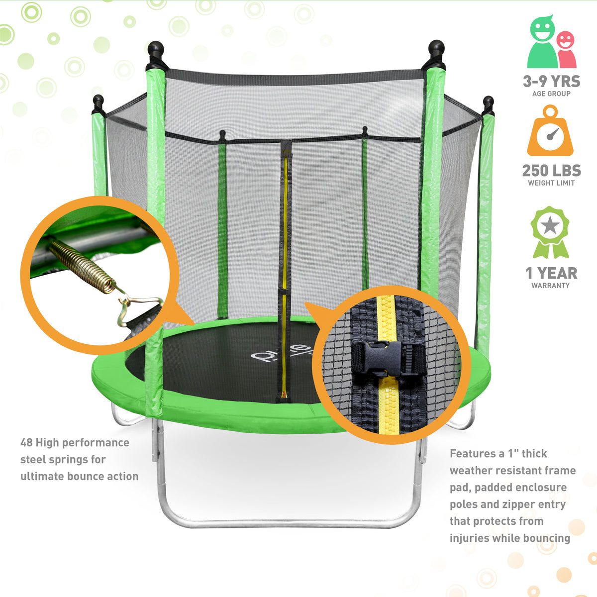 Dura Bounce Outdoor Trampoline With Enclosure 8 Foot