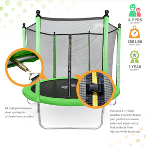 Pure Fun Dura-Bounce Outdoor Trampoline with Enclosure, 8-Foot - Pure Fun