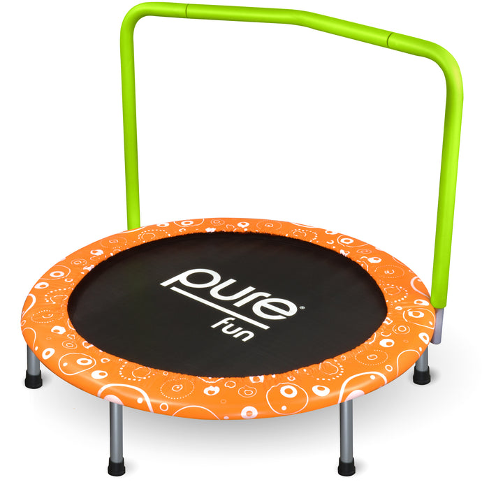 Pure Fun Foldable Kids Trampoline with Handrail, Spring Free, 36-inch - Pure Fun