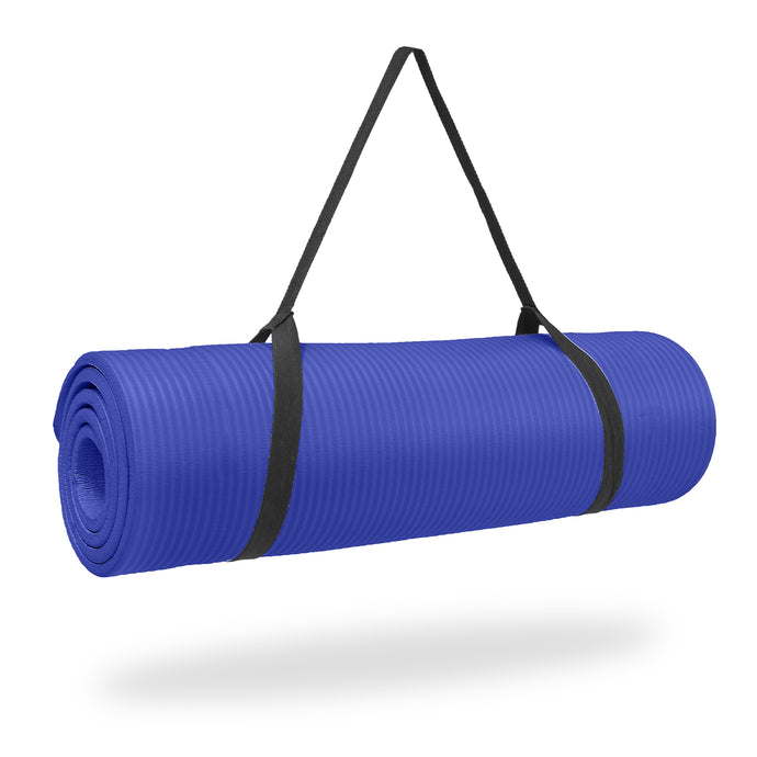 Pure Fitness 1/2 inch Ultra Thick NBR Exercise Mat with Carry Strap - Pure Fun