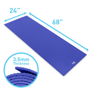 Pure Fitness 3.5mm Non-Slip Yoga Mat with Carry Strap - Blue - Pure Fun