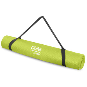 Pure Fitness 3.5mm Non-Slip Yoga Mat with Carry Strap - Lime - Pure Fun