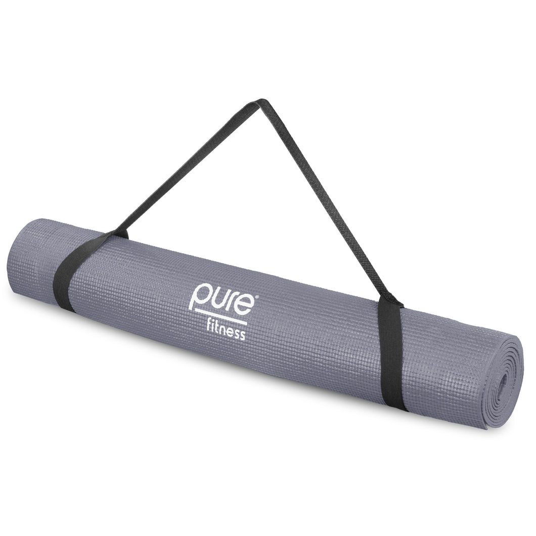 Pure Fitness 3.5mm Non-Slip Yoga Mat with Carry Strap - Charcoal - Pure Fun