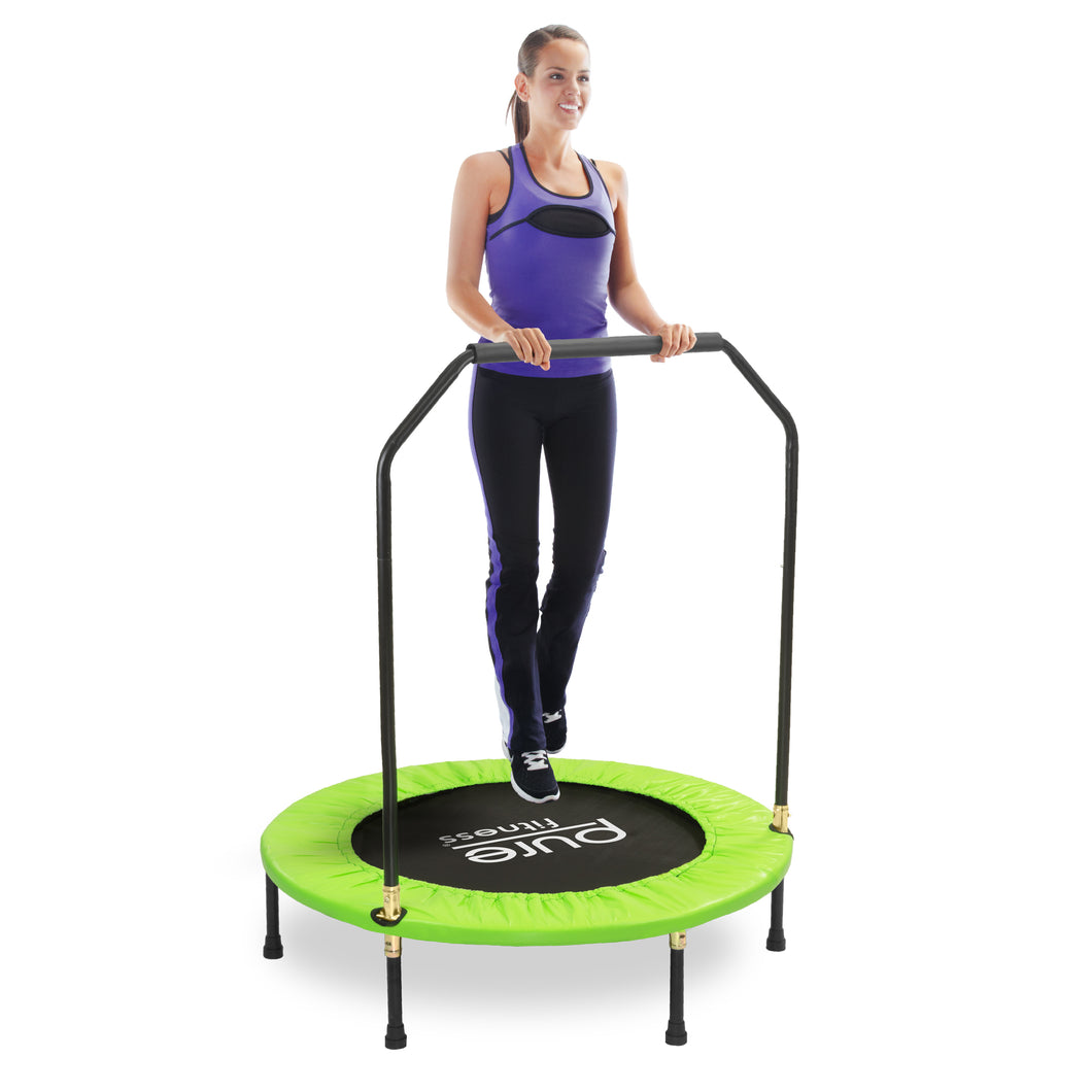 Pure Fitness Exercise Trampoline with Handrail, 40-inch - Pure Fun