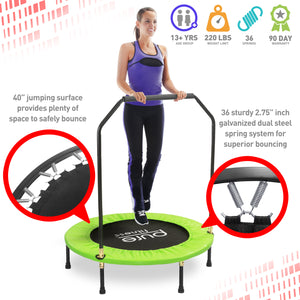 Pure Fitness 40-inch Exercise Trampoline with Handrail - Pure Fun