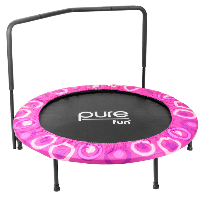 Pure Fun 48-inch Super Jumper Kids Trampoline with Handrail - Pink - Pure Fun