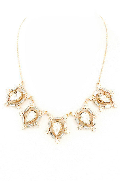 Fit for Royalty Glass Stone Necklace - Gold