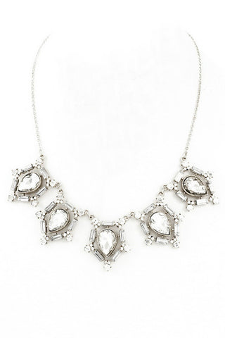 Fit for Royalty Glass Stone Necklace - Silver