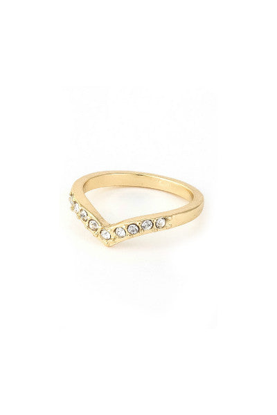Crystal Point Midi Ring