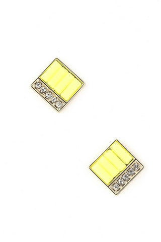 Square Shot Neon Studs - Yellow