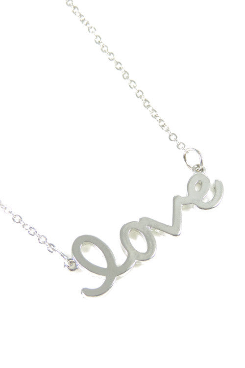Cursive Love Necklace - Silver