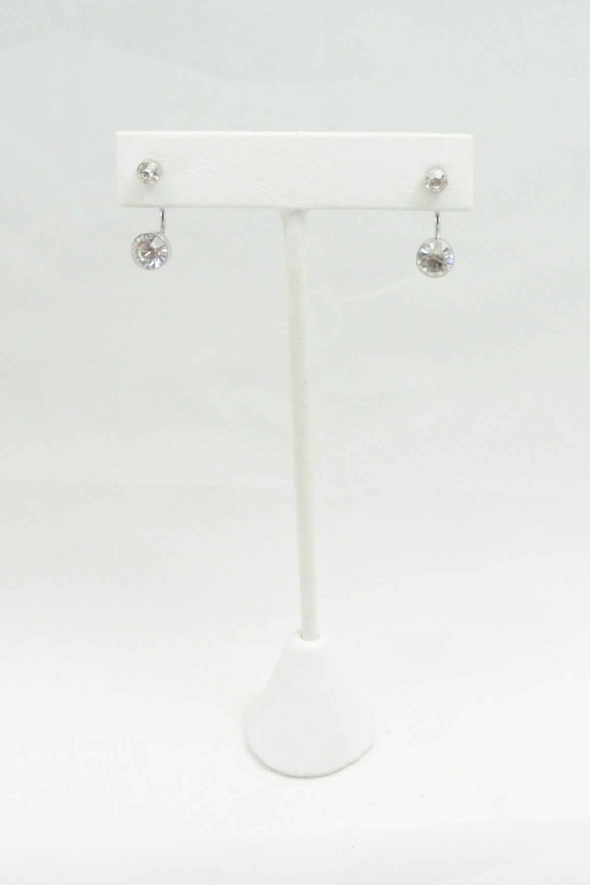 Double Time Crystal Ear Jackets - Silver