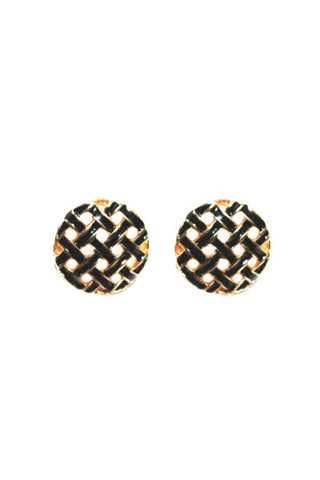 Black Cross Hatch Earrings