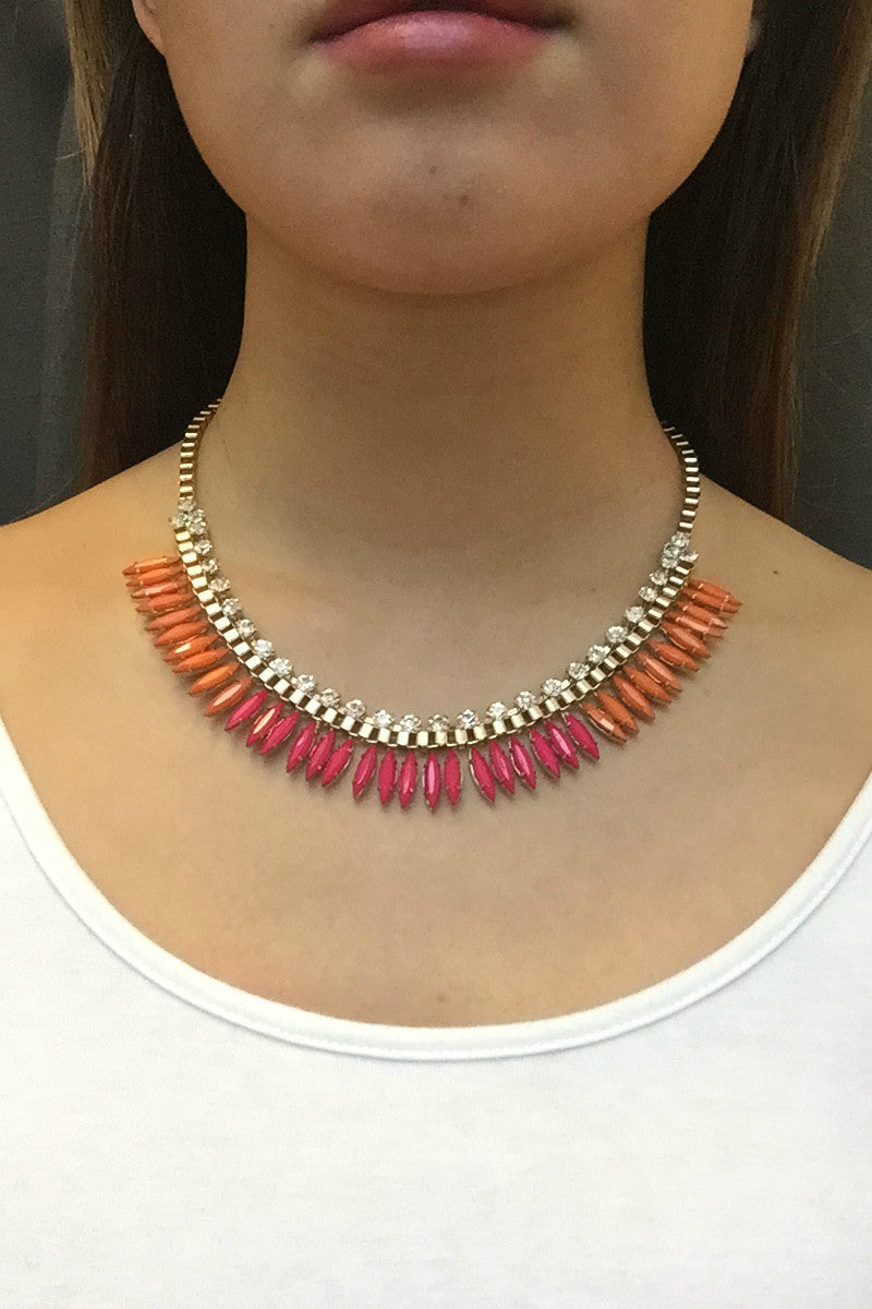 Fuschia Bloom Stone Necklace