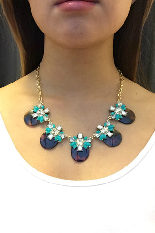 Ocean Gems and Shells Necklace - Turquoise