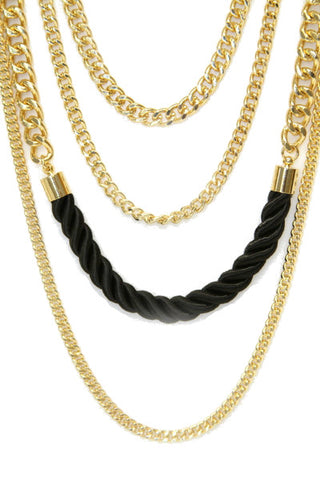 All Chained Up Necklace - Black