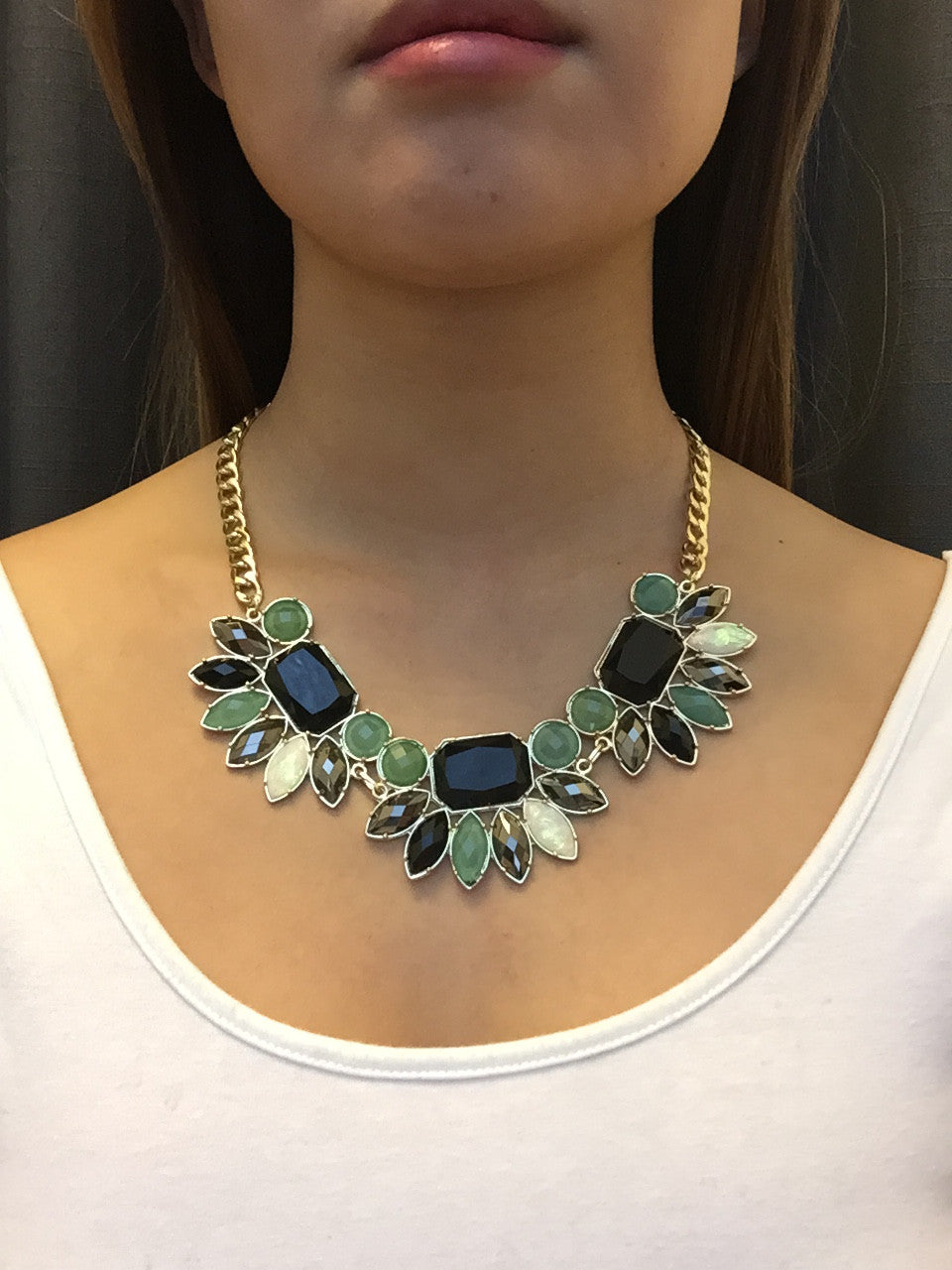Spring Bloom Jewels Statement Necklace - Black/Mint