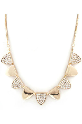 Triangle Craze Crystal Necklace - Gold