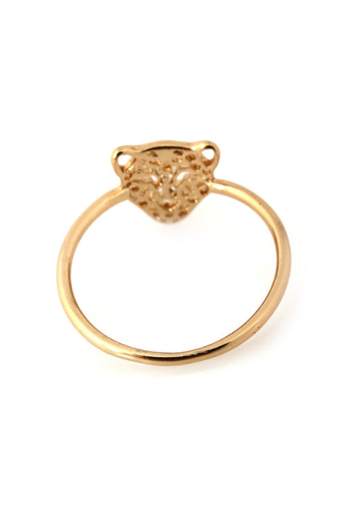 Golden Cheetah Head Ring