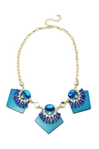 Cobalt Blue Geometric Necklace Set