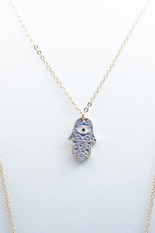 Blue Hamsa Layered Necklace
