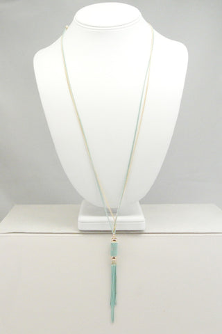 Chain Link Tassel Necklace - Blue