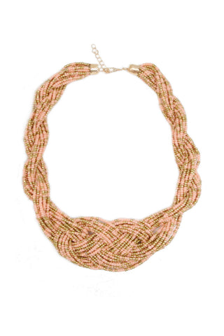 Boho Beaded Necklace - Pink/Gold
