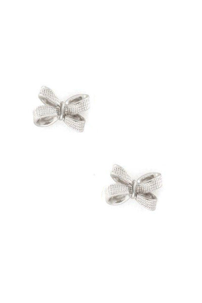 Sweetheart Ribbon Bow Studs - Silver