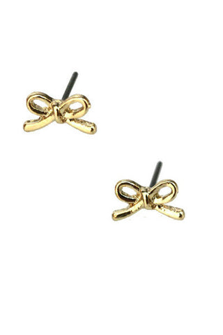 Dainty Golden Bow Studs