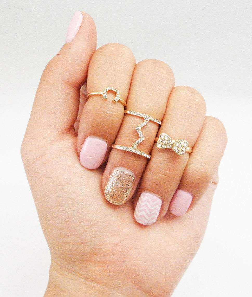 Crystal Studded Bow Midi Ring