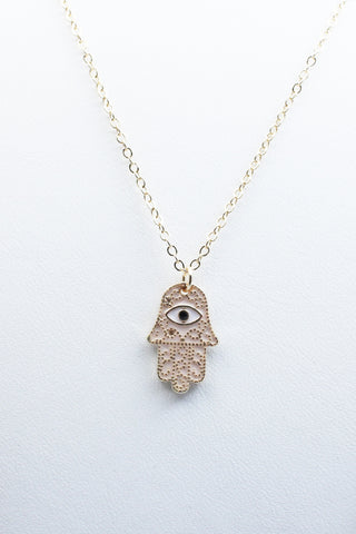 Creme Hamsa Layered Necklace