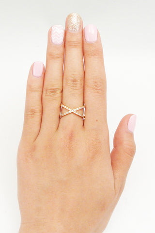 Crystal Criss Cross Ring