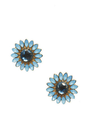 Baby Blue Floral Studs