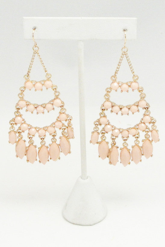 Festive Chandelier Beaded Earrings - Pink