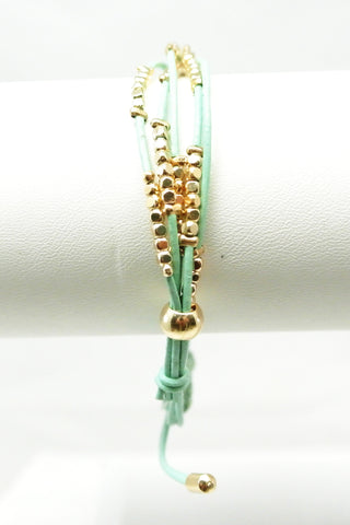 Dakota Leather Beaded Bracelet - Mint