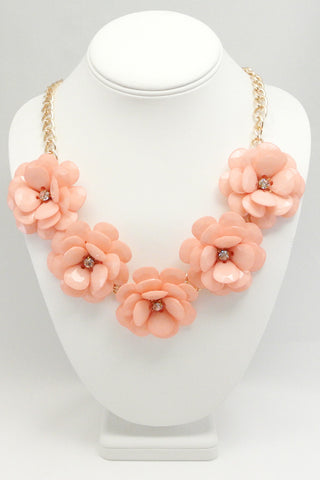 Jumbo Bloom Bib Necklace - Pink