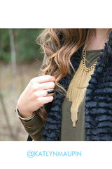 Disco Fringe Necklace - Antique Gold
