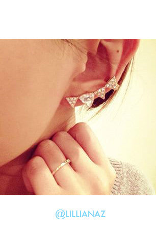 Lunar Spike Silver Ear Cuffs