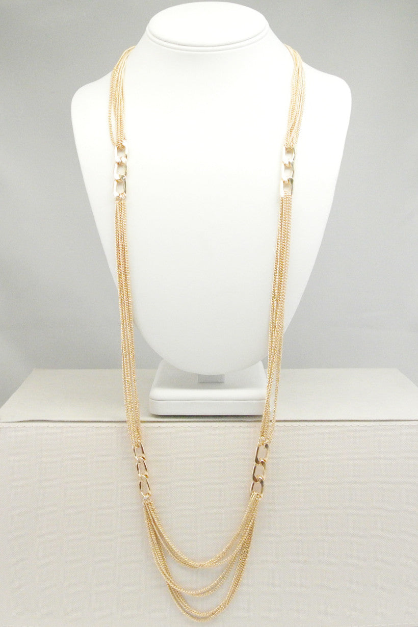 Long Chain and Links Necklace