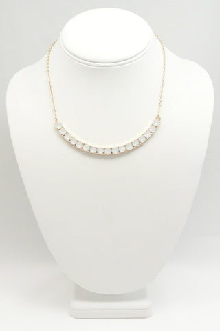 Crescent White Stones Necklace